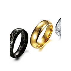 Rings Fashion Stainless Steel Gold/Silver Band Rings 3 Colors Letter Rings Black Jewelry  for New Year Christmas Gifts