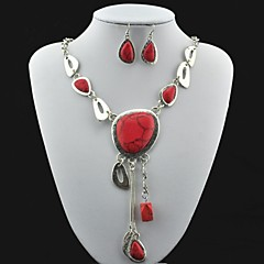 Vintage Antique Silver Turquoise (Include Necklace and Earring) Jewelry Set (Red)