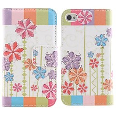 Abstract Flower Pattern PU Full Body Case with Card Slot and Stand for iPhone 4/4S