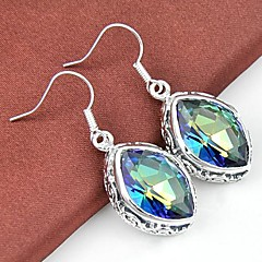 Classic Colored Mystic Topaz Gemstone Daily Drop Silver Earrings 1pair