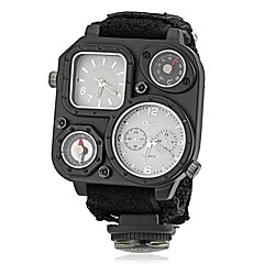 Hombre Reloj Militar Cuarzo Japonés Compass / Dos Husos Horarios Tejido Banda Negro / Verde Marca-