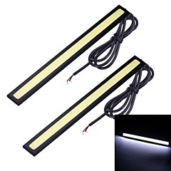 Merdia 2PCS 7W 1800LM 6000K COB White Light Car Strip Light / Daytime Running Light (17CM / 12V)