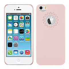 Pink PC Hard Case with Engraving Flower and Heart Shaped Hole Site for iPhone 5/5S