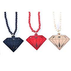 Diamond Pattern Wood Necklace