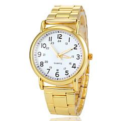 cadran rond montre-bracelet bande en acier d'or à quartz des femmes