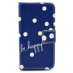 """""""Be Happy"""" Words with Chrysanthemum Flower Pattern PU Leather Full Body Case for iPhone 4/4S"""