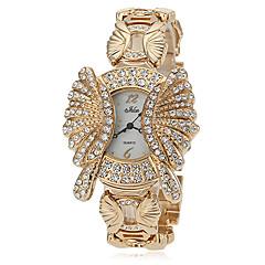 Women's Diamante Round Dial Alloy Band Quartz Analog Fashion Watch (Assorted Colors)