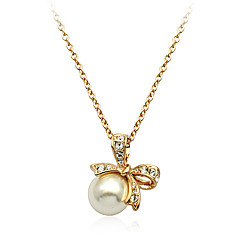 Sweetlovely Drill Bowknot Pearl Alloy Necklace