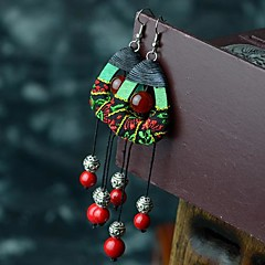 Earring Drop Earrings Jewelry Party / Daily / Casual Agate / Wood Silver / Red / Green