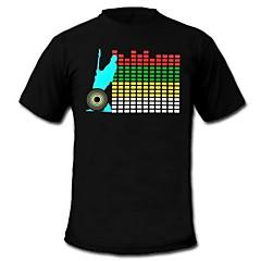 mens világít póló hang és a zene aktív equalizer vezetett el tépőzáras panel géppel mosható fél bar Raver fesztivál