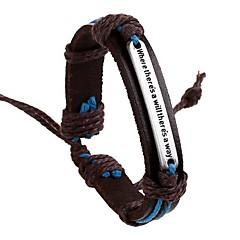 The New European Style Retro Letter Leather Bracelet
