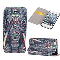 patrón de elefante clamshell cuero de la PU caso de cuerpo completo con ranura para tarjeta para el iphone 5 / 5s