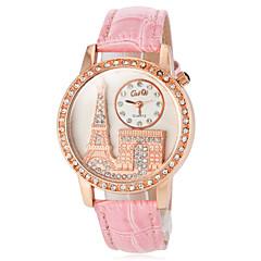 Dame Modeur Quartz PU Bånd Glitrende Eiffeltårnet Sort Hvid Rød Brun Pink Lilla Brand