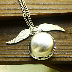 Women's Ball Style with Wing Vintage Alloy Quartz Analog Necklace Watch