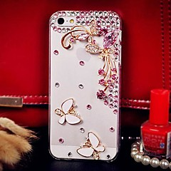 Diamond Butterfly and Flower Petals Back Cover Case for iPhone 4/4S