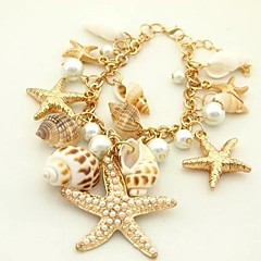 Lureme®Retro Starfish and Conch Multielement Shell Bracelet
