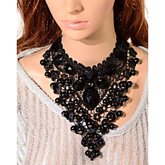 European Retro Oval Gem Gothic Style Lace Necklace