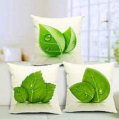 σετ 3 όμορφα φύλλα βαμβάκι / λινό διακοσμητικό κάλυμμα μαξιλαριού