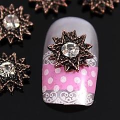 10szt słońce kwiat zębate brąz biżuteria Rhinestone 3d projekt paznokci sztuki dekoracji stop