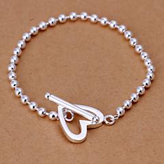 Lovely Sweet Women's  Love Brass Silver Plated Strand Bracelet(Silver)(1Pc)