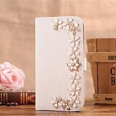 fiori di diamanti cuoio dell'unità di elaborazione caso corpo pieno con supporto e slot per schede per iPhone 5 / 5s
