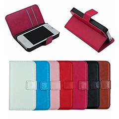 crazy horse lederen portemonnee full body case flip lederen staan cover met kaarthouder voor iPhone 4 / 4s (verschillende kleuren)