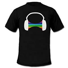 LED-T-shirts Lydaktiverede LED-lys Bomuld XS S M L XL XXL Nyhed Sort 2 AAA Batterier