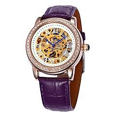 Frauen hohlen Wahl Diamant Goldgehäuse Lederband Auto-mechanische Armbanduhr (farbig sortiert)