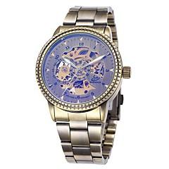 Men's Bronze Skeleton Dial Steel Band Automatic Self Wind Wrist Watch