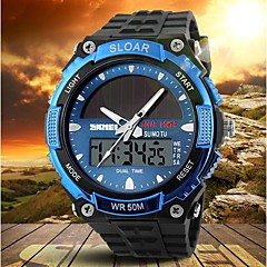 Men's Solar Powered Multifunctional Dual Time Zones Rubber Band Sporty Wrist Watch