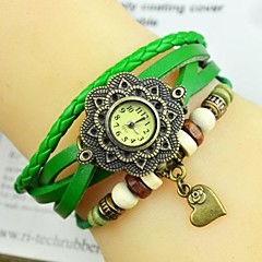 Women's Fashion Personality Flower Heart Leather Bracelet Watch(Assorted colors)