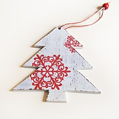Christmas Hanging Decoratives  White Tree Red Snowflower Shape 1 PC MDF Materiels for Christmas Decorations