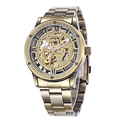 Men's Bronze Skeleton Dial Steel Band Automatic Self Wind Wrist Watch Cool Watch Unique Watch