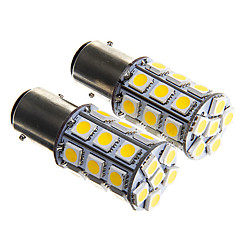1157 6W 27x5050 SMD Warm White Light Bulb for Car Brake Lamp (DC12V 2pcs)