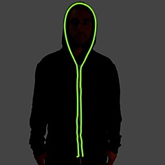 Men's Black Light Up Hoodie with Green EL Wire LED Glow Flashing Party Bar Raver Festival Long Sleeve 2AA Batteries