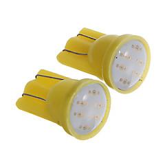 T10 1W COB 60LM Yellow Light LED Bulbs for Car Instrument/Side Marker Lamp(DC12V 2pcs)