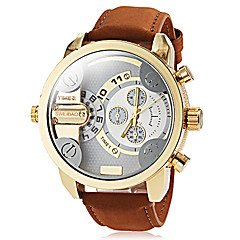 Men's Military Style Dual Time Zones Khaki Leather Band Quartz Wrist Watch