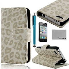 COCO FUN® White Leopard PU Leather Full Body Case with Screen Protector, Stand and Stylus for iPhone 4/4S
