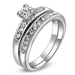 ROXI Delicate Zircon Earrings Fashion Platinum Plated Band Ring(2 Pcs)
