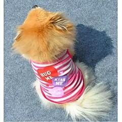 Gatos / Perros Camiseta Rosado / Morado Ropa para Perro Verano Corazones / Rayas Moda