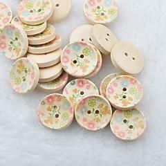 flor desenho recados scraft costura botões de madeira diy (10 peças)