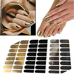 48pcs adesivo decalcomania manicure oro argento metallo nero incollaggio