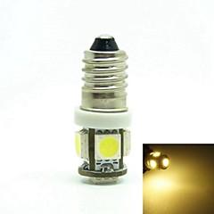 E10 1W 5X5050SMD 70-90LM 6500-7500K Warm White Light for Car Door lamp(DC12-16V)