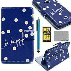 COCO FUN® Daisy In Blue Pattern PU Leather Full Body Case with Screen Protector, Stylus and Stand for Nokia Lumia N625