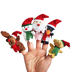 5PCS Christmas Animal Plush Finger Puppets Kids Talk Prop