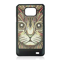 katten läder ven mönster hårda fallet för Samsung Galaxy S2 i9100