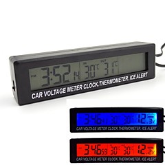 Car Voltage Meter Clock Thermometer Ice Alert With Orange and Bule Backlight