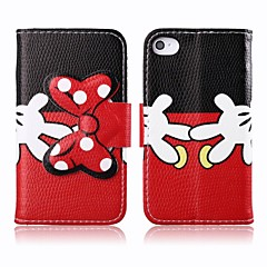 Black and Red PU Leather Full Body Cover with Stand and Card Slot for iPhone 4/4S