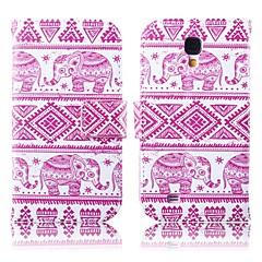 サムスンS4 i9500用のスタンド付きのピンクの象パターンPUレザーフルボディケース