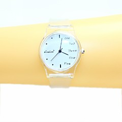 Women's  English Small Fresh And Simple Transparent Band Quartz Analog Wrist Watch